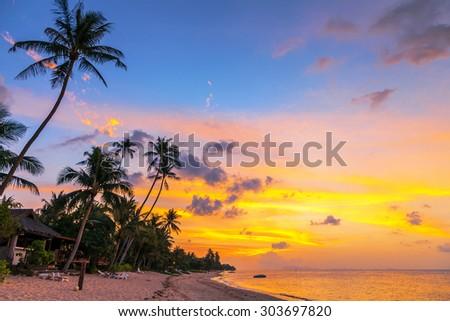 Perfect sunset on  Bang Po beach . Samui Island. Thailand. - stock photo