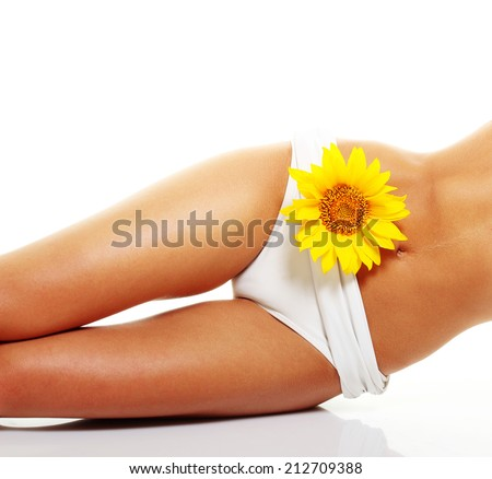 Perfect tanned woman body isolated on white background. - stock photo