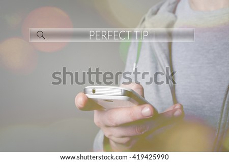Perfect tip. Search box Web Online Browsing Searching Concept - stock photo