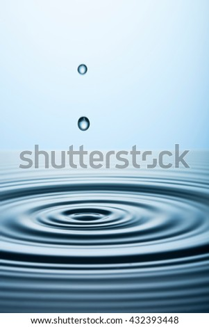 Perfect Water Drop Falling into Pool of Clean Fresh Water, Close up View - stock photo
