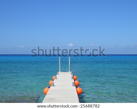 Perfect weather on Caribbean sea near a peer