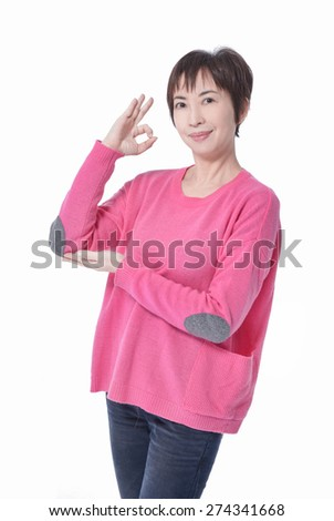 Perfect - woman showing OK hand sign  - stock photo