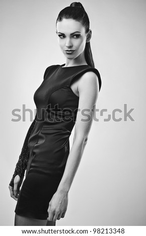 Perfect young woman. Black-white photo.