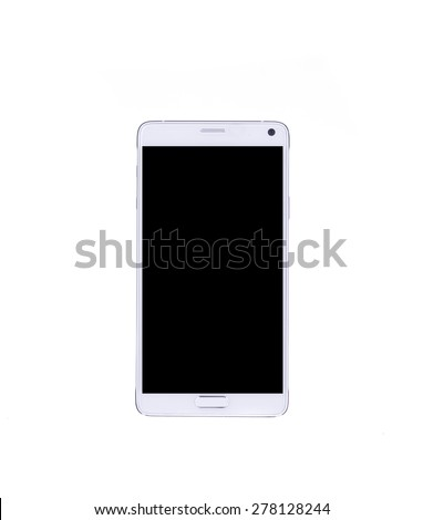 Perfectly detailed modern smart phone isolated on white background. - stock photo