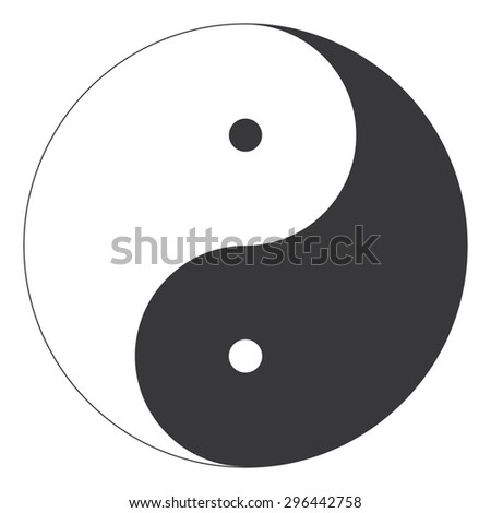 Perfectly lined Yin and Yang oriental religion symbol illustration - stock photo
