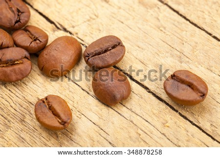 Perfectly roasted coffee beans on old wooden table