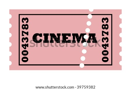 Perforated cinema ticket, isolated on white background.