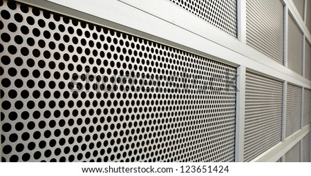 Perforated Steel Garage Security door on perspective