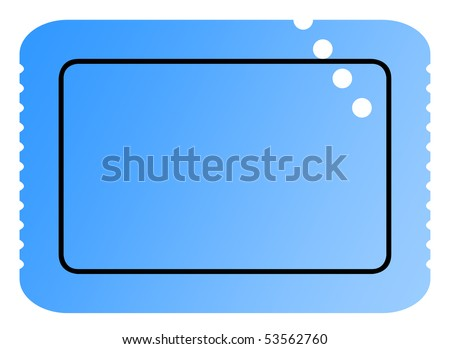 Perforated used blank blue ticket with serrated edges and copy space isolated on white background. - stock photo