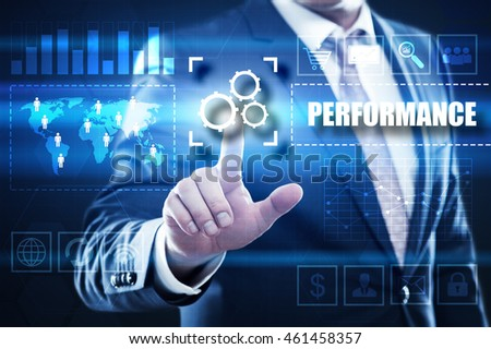 performance, business, technology and internet concept: businessman are using a virtual computer and are selecting performance.