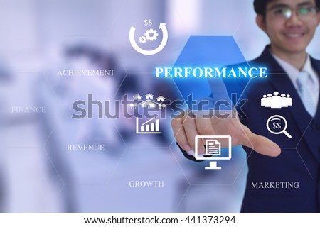PERFORMANCE concept  presented by  businessman touching on  virtual  screen  - stock photo
