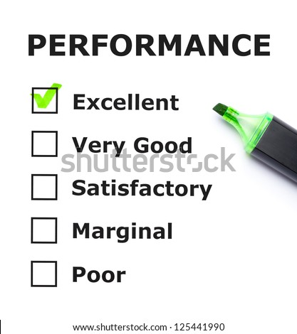 Performance evaluation form with green check mark on Excellent with felt tip pen. - stock photo