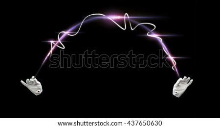 performance, illusion, circus, show concept - magician hands in gloves with illuminating magic wand showing trick over black background - stock photo