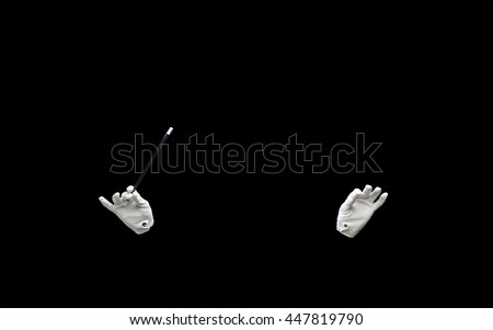 performance, illusion, circus, show concept - magician hands in gloves with magic wand showing trick over black background - stock photo