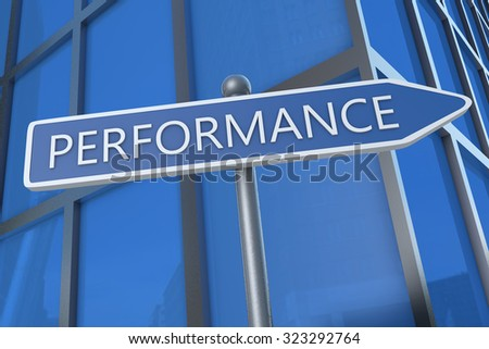 Performance - illustration with street sign in front of office building.