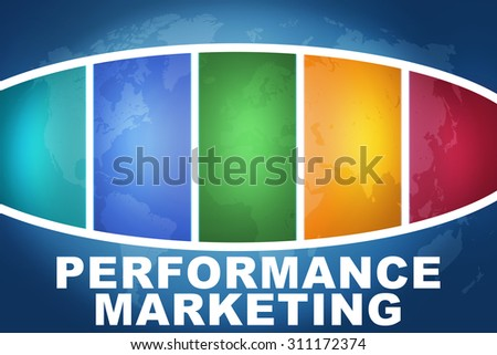 Performance Marketing text illustration concept on blue background with colorful world map