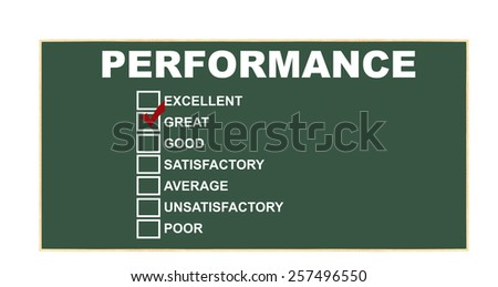 Performance rating: excellent, great red check mark, good, satisfactory, average, unsatisfactory, poor on chalkboard isolated on white background