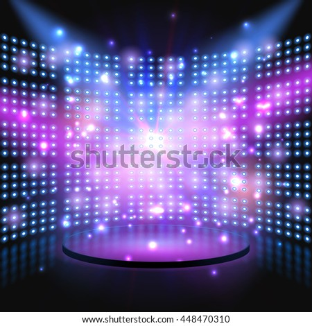 Performance stage with lightbulb glowing backdrop wall. abstract background - stock photo