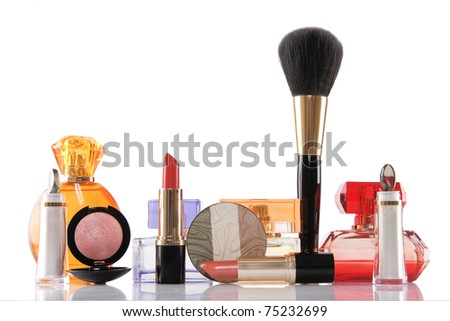 perfume and cosmetics on white background, beauty concept - stock photo