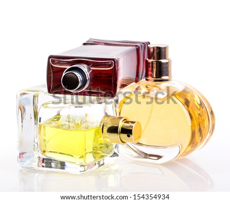 perfume bottle isolated on white background - stock photo
