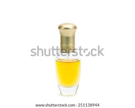 perfume bottle isolated on white background. - stock photo