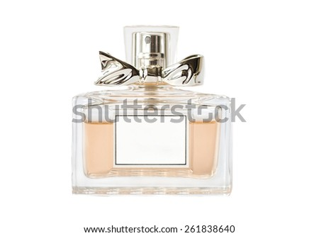 Perfume bottle isolated on white with silver bow - stock photo