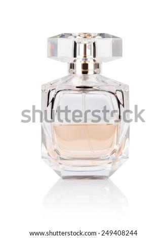 perfume bottle on white background - stock photo