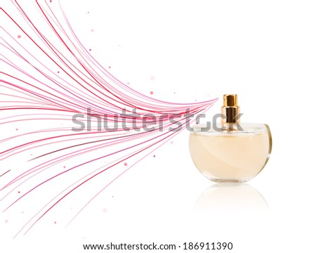 Perfume bottle spraying colored lines