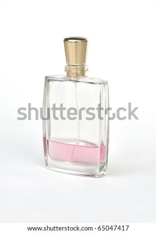 Perfume bottle used almost empty - stock photo