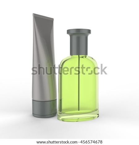 Perfume bottle with cream. 3D Rendering.