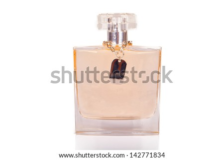 Perfume bottles on the scene are white. - stock photo