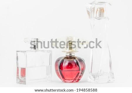 Perfume Bottles over white - stock photo