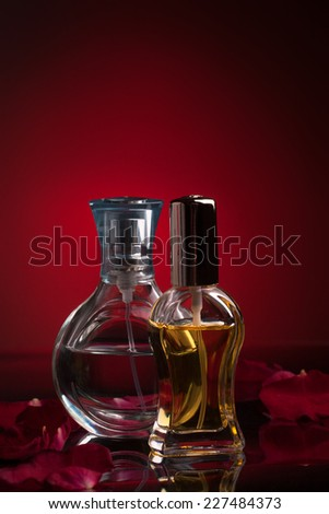 Perfume bottles with reflection