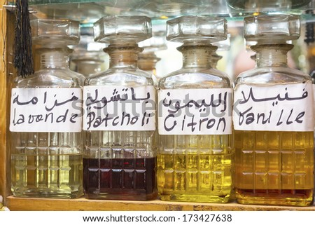 Perfume for sale on a Moroccan market, Africa - stock photo