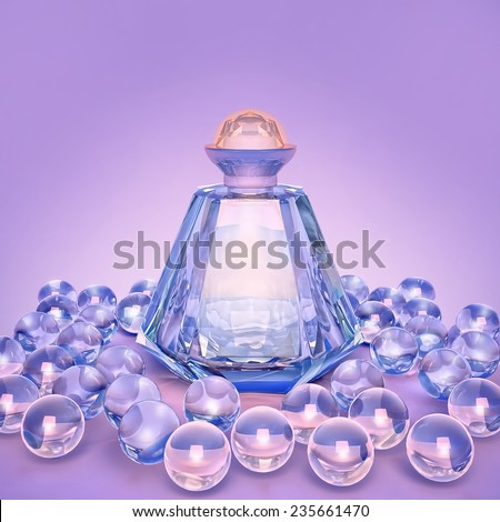 Perfume in a glass bottles and pearl beeds on lilac. - stock photo
