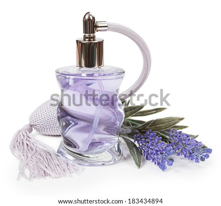 Perfume in the bottle and lavender pulverizer isolated on white background - stock photo