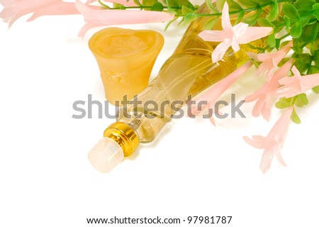 perfume of flowers on a white background