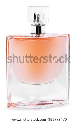 perfume spray bottle with atomizer, isolated on white background - stock photo