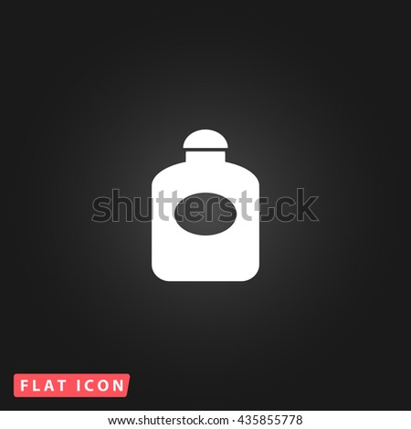 perfume White flat icon on dark background. Simple illustration pictogram - stock photo
