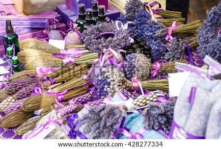 Perfumery, oil, soap, flowers and other product from a lavender on market outdoor in Europe - stock photo