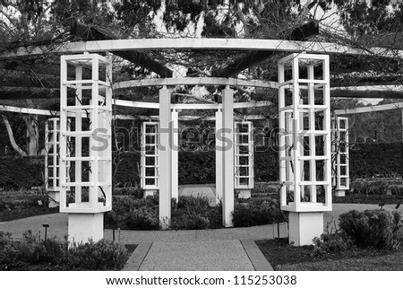 Pergola in the garden decorated with vine - stock photo