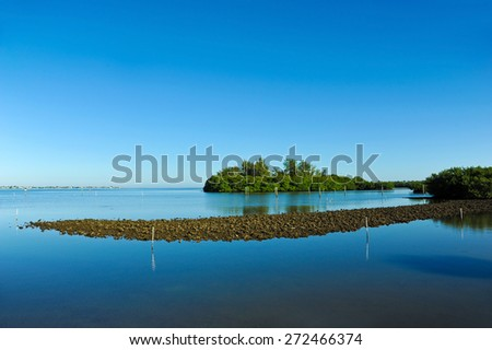 Perico Bayou located on the west coast of Florida between Bradenton and Anna Maria Island  - stock photo