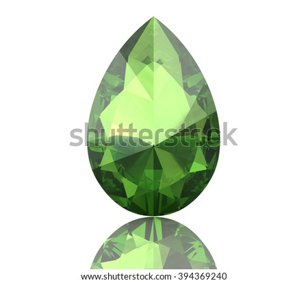 Peridot gem on white background (high resolution 3D image) - stock photo