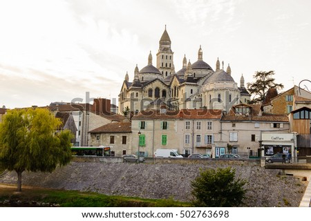 PERIGUEUX, FRANCE - OCT 11, 2016: St. Front's Cathedral of Perigueux, France. The town is the seat of a Roman Catholic diocese.
