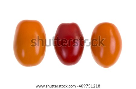 Perino gold tomatoes on a white background - stock photo