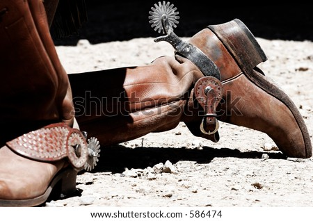 Period-Correct Old West Cowboy Boots & Spurs - stock photo