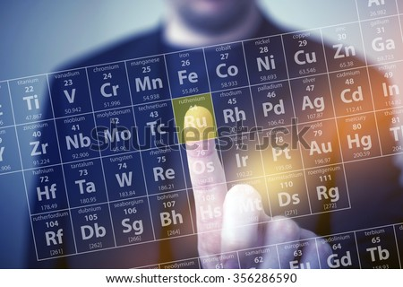 Periodic Table Elements Touch. Periodic Table Chemical Concept with Men Touching Some Element by His Finger. Chemistry Touch Screen - stock photo