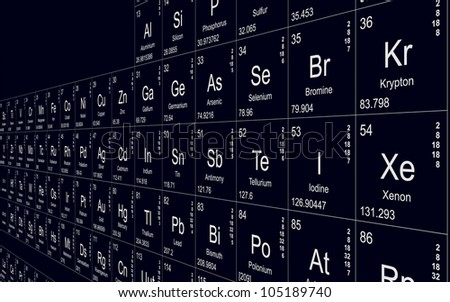 Periodic table in science lab - stock photo