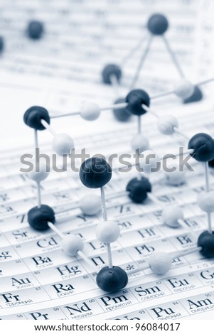 Periodic table of chemical elements with molecule