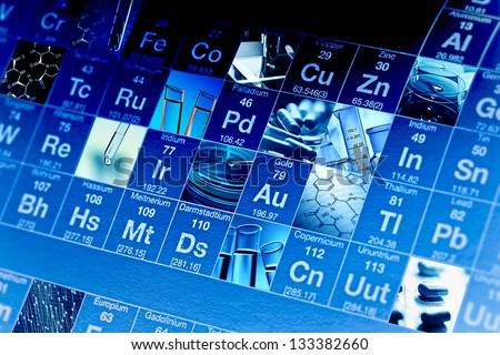 Periodic table of elements and laboratory tools. Science concept. - stock photo